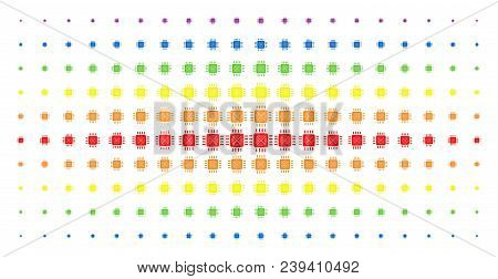 Asic Processor Icon Spectral Halftone Pattern. Vector Asic Processor Items Are Arranged Into Halfton
