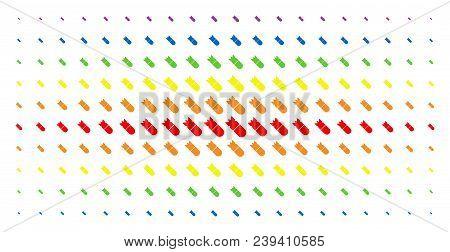 Aviation Bomb Icon Rainbow Colored Halftone Pattern. Vector Aviation Bomb Items Are Arranged Into Ha