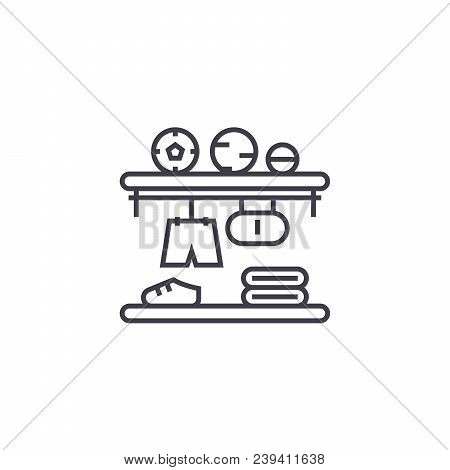 Closet Shelves Vector Line Icon, Sign, Illustration On White Background, Editable Strokes