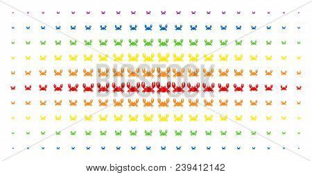 Crab Icon Rainbow Colored Halftone Pattern. Vector Crab Pictograms Are Arranged Into Halftone Array