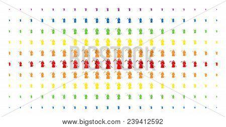 Death Scytheman Icon Spectrum Halftone Pattern. Vector Death Scytheman Symbols Are Arranged Into Hal