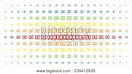 Diploma Icon Spectral Halftone Pattern. Vector Diploma Symbols Are Arranged Into Halftone Array With