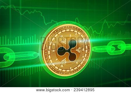 Crypto Currency. Block Chain. Ripple. 3d Isometric Physical Golden Ripple Coin With Wireframe Chain.