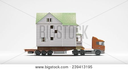A Flatbed Articulated Lorry Truck Loaded With A House Isolated On A White Background. Moving Home Co