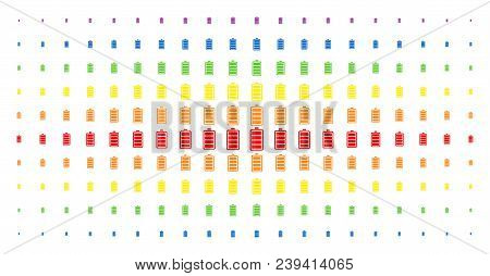 Electric Battery Icon Spectrum Halftone Pattern. Vector Electric Battery Pictograms Are Organized In