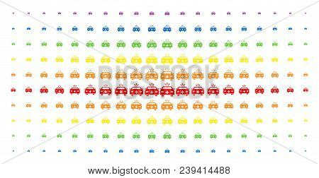 Emergency Car Icon Spectral Halftone Pattern. Vector Emergency Car Symbols Are Arranged Into Halfton