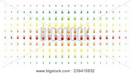 Fireworks Detonator Icon Spectrum Halftone Pattern. Vector Fireworks Detonator Objects Are Organized