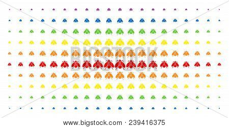 Fly Insect Icon Rainbow Colored Halftone Pattern. Vector Fly Insect Items Are Arranged Into Halftone