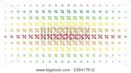 Growing Percent Icon Spectrum Halftone Pattern. Vector Growing Percent Objects Are Organized Into Ha