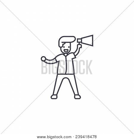 Loudspeaker Announcement Vector Line Icon, Sign, Illustration On White Background, Editable Strokes