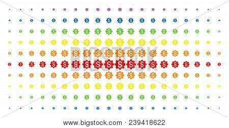 Industrial Capital Icon Rainbow Colored Halftone Pattern. Vector Industrial Capital Pictograms Are A