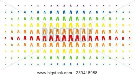 Jeans Icon Spectrum Halftone Pattern. Vector Jeans Symbols Are Arranged Into Halftone Array With Ver