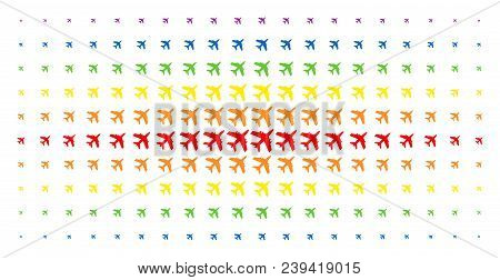 Jet Plane Icon Spectrum Halftone Pattern. Vector Jet Plane Shapes Are Arranged Into Halftone Grid Wi