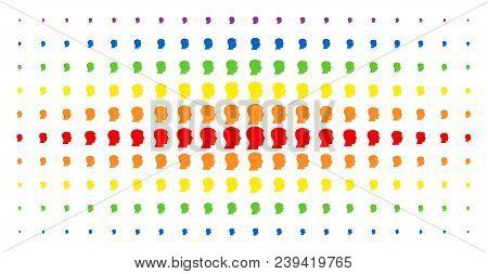 Man Head Profile Icon Spectral Halftone Pattern. Vector Man Head Profile Symbols Are Organized Into
