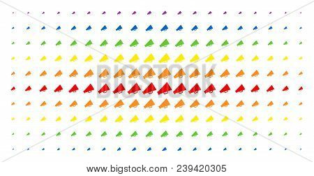 Megaphone Icon Spectral Halftone Pattern. Vector Megaphone Symbols Are Arranged Into Halftone Grid W