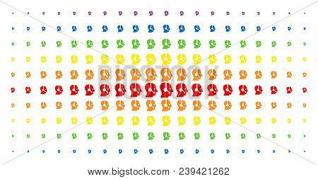 Operator Icon Spectrum Halftone Pattern. Vector Operator Objects Are Arranged Into Halftone Matrix W