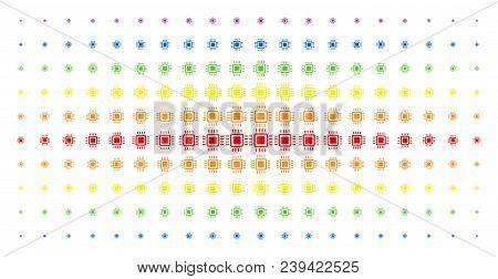 Processor Icon Spectrum Halftone Pattern. Vector Processor Pictograms Are Organized Into Halftone Ma