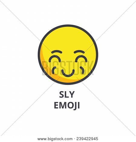 Sly Emoji Vector Line Icon, Sign, Illustration On White Background, Editable Strokes