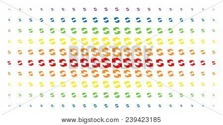 Refresh Icon Spectrum Halftone Pattern. Vector Refresh Pictograms Are Organized Into Halftone Grid W