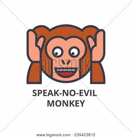 Speak No Evil Emoji Vector Line Icon, Sign, Illustration On White Background, Editable Strokes