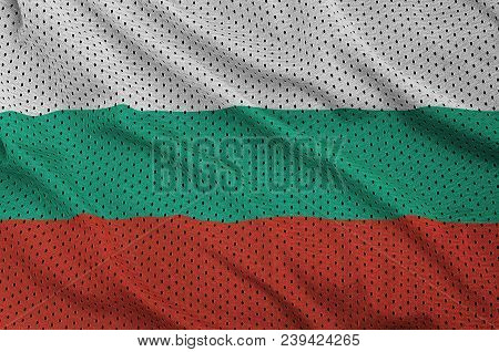 Bulgaria flag printed on a polyester nylon sportswear mesh fabric with some folds poster