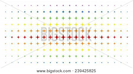Space Star Icon Spectrum Halftone Pattern. Vector Space Star Symbols Are Arranged Into Halftone Grid