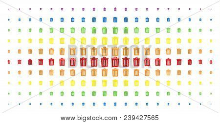 Trash Bin Icon Spectrum Halftone Pattern. Vector Trash Bin Items Are Arranged Into Halftone Matrix W