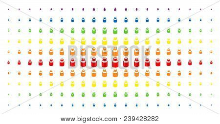 Vial Icon Spectrum Halftone Pattern. Vector Vial Items Are Arranged Into Halftone Array With Vertica