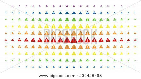 Warning Icon Spectrum Halftone Pattern. Vector Warning Objects Are Arranged Into Halftone Array With