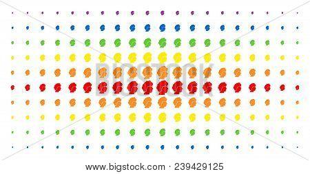 Woman Profile Icon Spectral Halftone Pattern. Vector Woman Profile Symbols Are Arranged Into Halfton