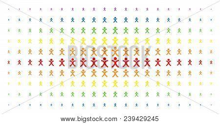 X Generation Boy Icon Spectrum Halftone Pattern. Vector X Generation Boy Pictograms Are Arranged Int