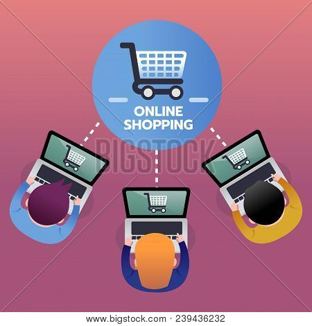 Consumer Buy Products From Online Shopping With Laptop, E-commerce Concept, Top View. Infographic Fl