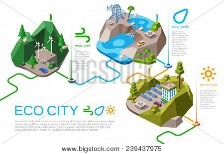 Eco City Vector Illustration Isometric Natural Energy Sources For Urban Life. Cartoon City Landscape