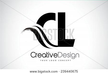 Cl C L Creative Modern Black Letters Logo Design With Brush Swoosh