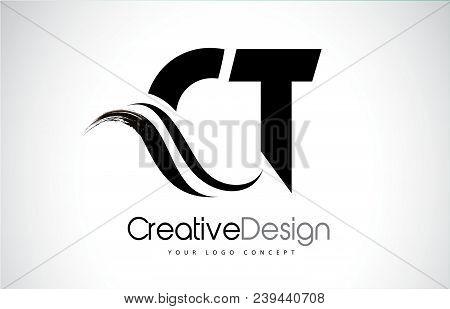 Ct C T Creative Modern Black Letters Logo Design With Brush Swoosh