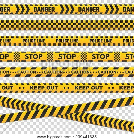 Caution Perimeter Stripes. Isolated Black And Yellow Danger Police Line Do Not Cross For Criminal Sc