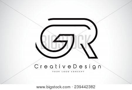 Gr G R Letter Logo Design In Black Colors. Creative Modern Letters Vector Icon Logo Illustration.