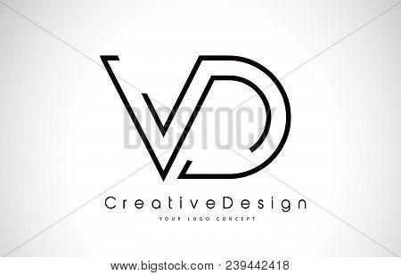 Vd V D Letter Logo Design In Black Colors. Creative Modern Letters Vector Icon Logo Illustration.
