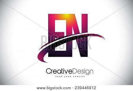 En E N Purple Letter Logo With Swoosh Design. Creative Magenta Modern Letters Vector Logo Illustrati