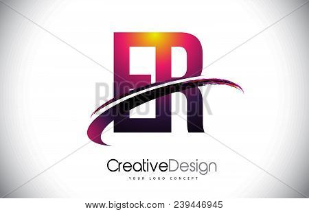 Er E R Purple Letter Logo With Swoosh Design. Creative Magenta Modern Letters Vector Logo Illustrati