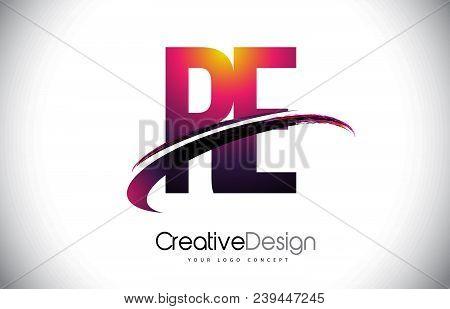 Re R E Purple Letter Logo With Swoosh Design. Creative Magenta Modern Letters Vector Logo Illustrati