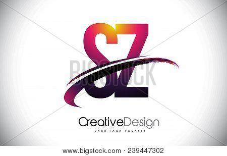 Sz S Z Purple Letter Logo With Swoosh Design. Creative Magenta Modern Letters Vector Logo Illustrati
