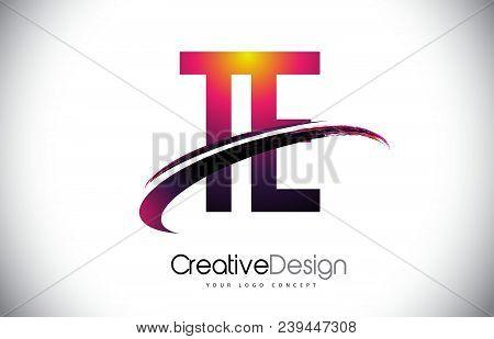 Te T E Purple Letter Logo With Swoosh Design. Creative Magenta Modern Letters Vector Logo Illustrati
