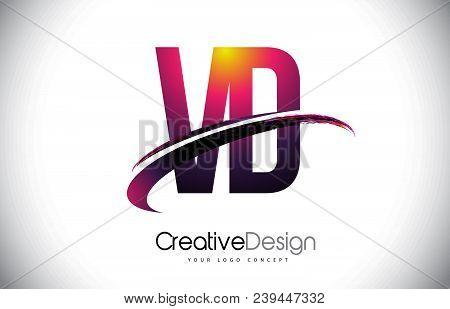 Vd V D Purple Letter Logo With Swoosh Design. Creative Magenta Modern Letters Vector Logo Illustrati