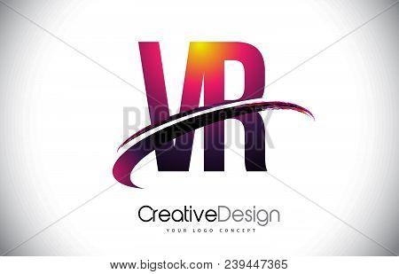 Vr V R Purple Letter Logo With Swoosh Design. Creative Magenta Modern Letters Vector Logo Illustrati