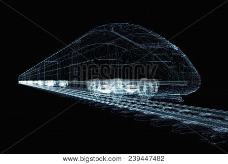 Abstract Polygonal High-speed Passenger Train. Traveling Concept. 3d Illustration On Black Backgroun