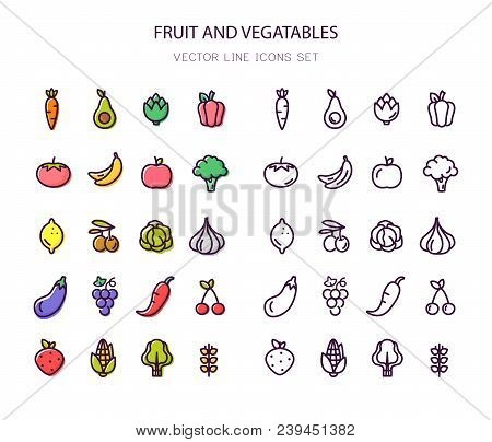 Fruit And Vegetables. Organic Food. Set Of Line And Colorful Icons. Vector. Line Icon Outline Stroke