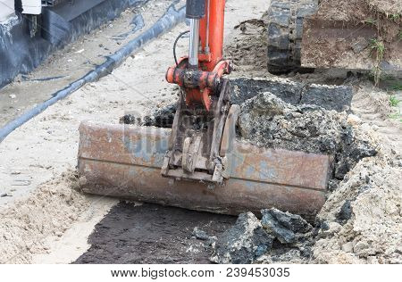 Small Crane Is Leveling Ground