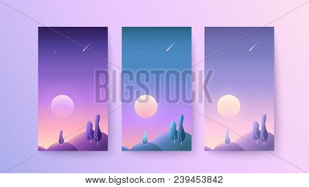 Backgrounds For Phones And Smartphones With A Natural Landscape During The Dawn Or Summer Sunset Set