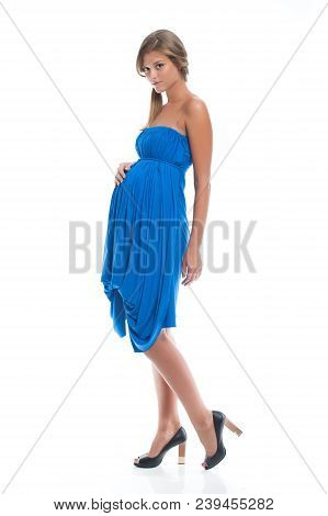 Beautiful Pregnant Young Girl In Blue Dress For Pregnancy. Clothes For Pregnancy.